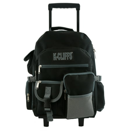 Rolling Backpack Heavy Duty School With Wheels Deluxe Book Bag Daypack Multiple Pockets Black