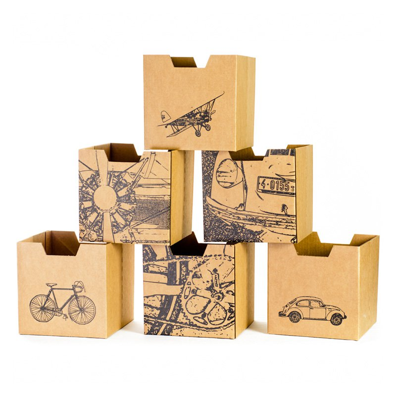 Sprout City Print Cardboard Cubby Bins - 6 pack