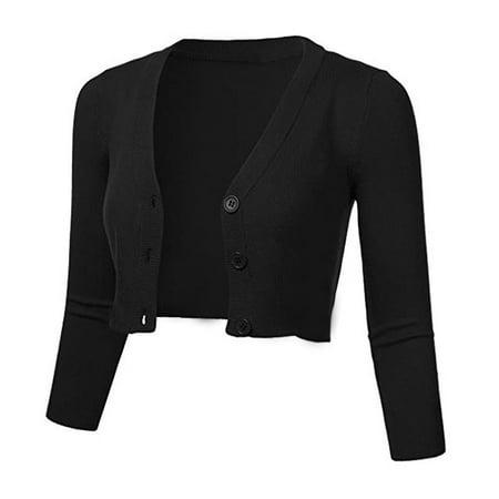 (Toponeto) Women Solid Casual Button Down 3/4 Sleeve Cropped Bolero Short Coat Cardigan 3/4 Sleeve Crop Jacket