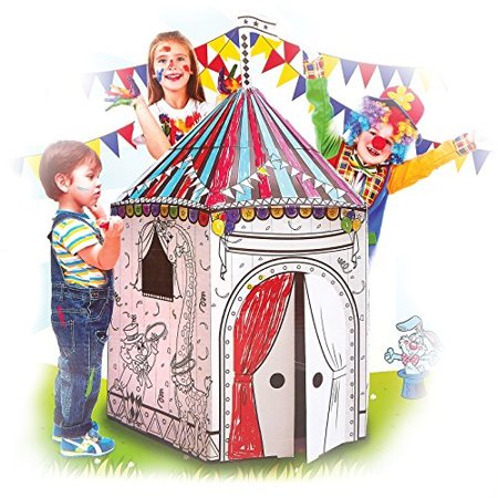 My Circus Tent Cardboard Playhouse - Large Corrugated Color In Coloring  Play House for Kids - 3.5 Feet Tall - Easy Assembly, Fas