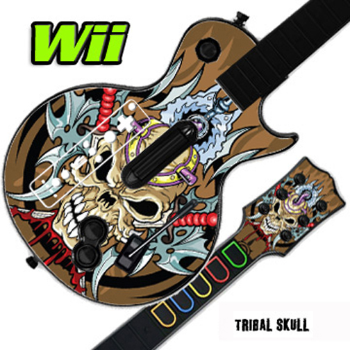 Mightyskins Skin Decal Cover for GUITAR HERO 3 III Nintendo Wii Les Paul - Tribal Skull