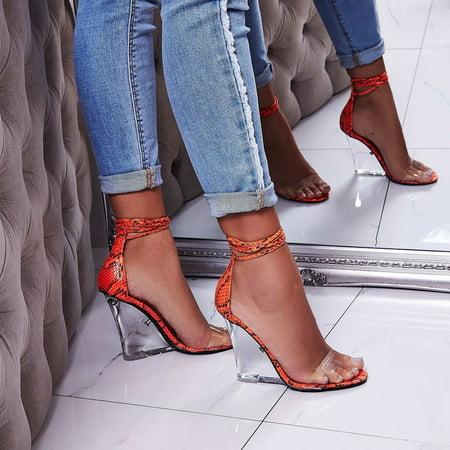 Cape Robbin Magnetic Orange Neon Snake Lucite Clear Heel Wedge Sandals - Neon Stripper Heels