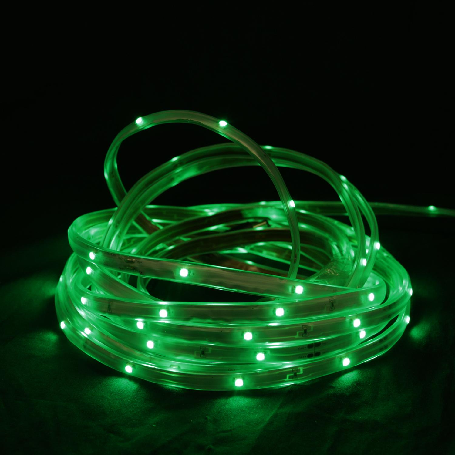 18' Green LED Indoor/Outdoor Christmas Linear Tape Lighting - White Finish
