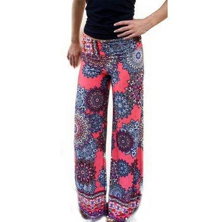 Women Yoga Boho Hippie Stretch Flare Loose Palazzo Pants Floral Long