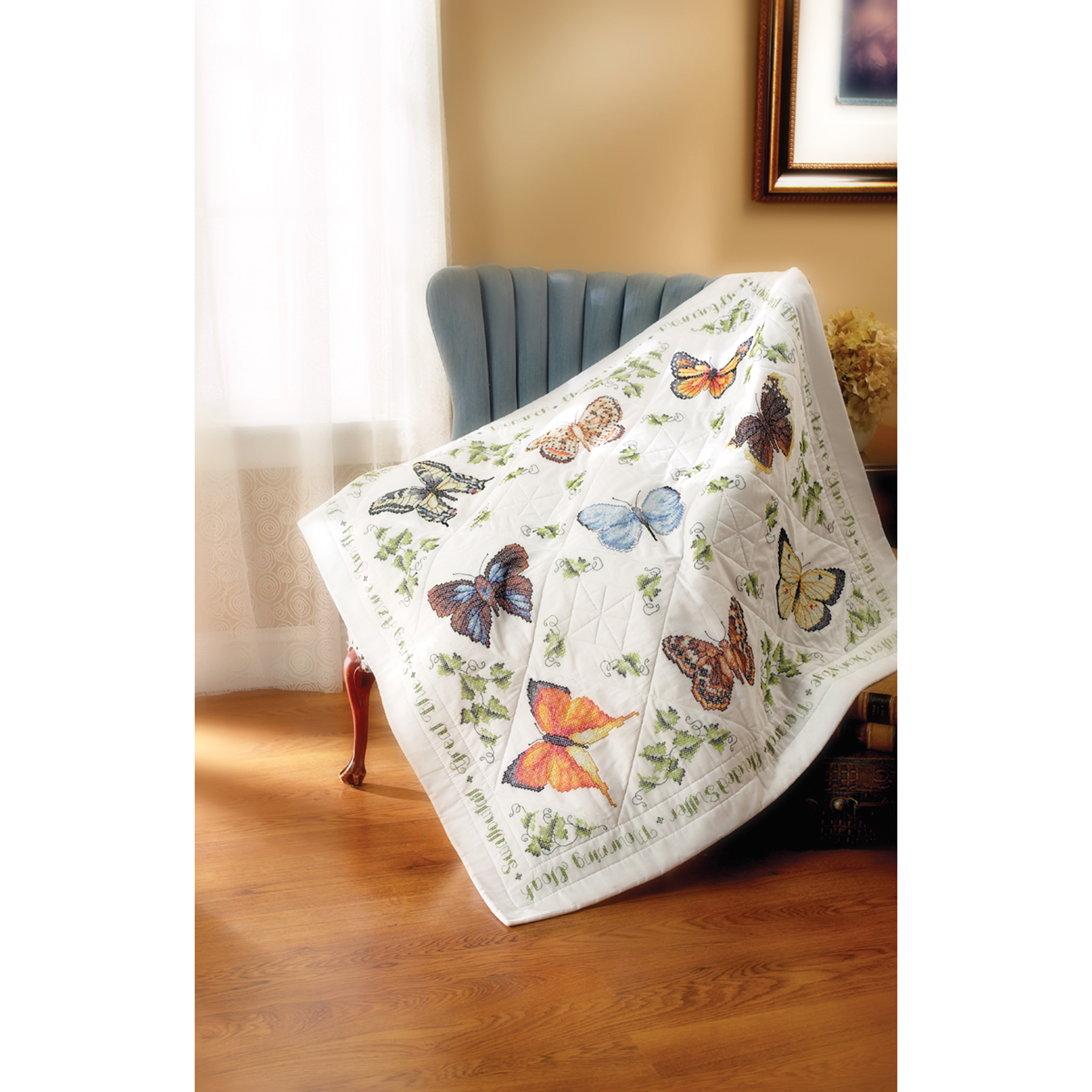 Bucilla Stamped Cross Stitch Kit, Lapquilt Butterflies