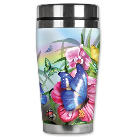 Mugzie brand 16-Ounce Stainless Steel Travel Mug with Insulated Wetsuit Cover - Blue Butterfly