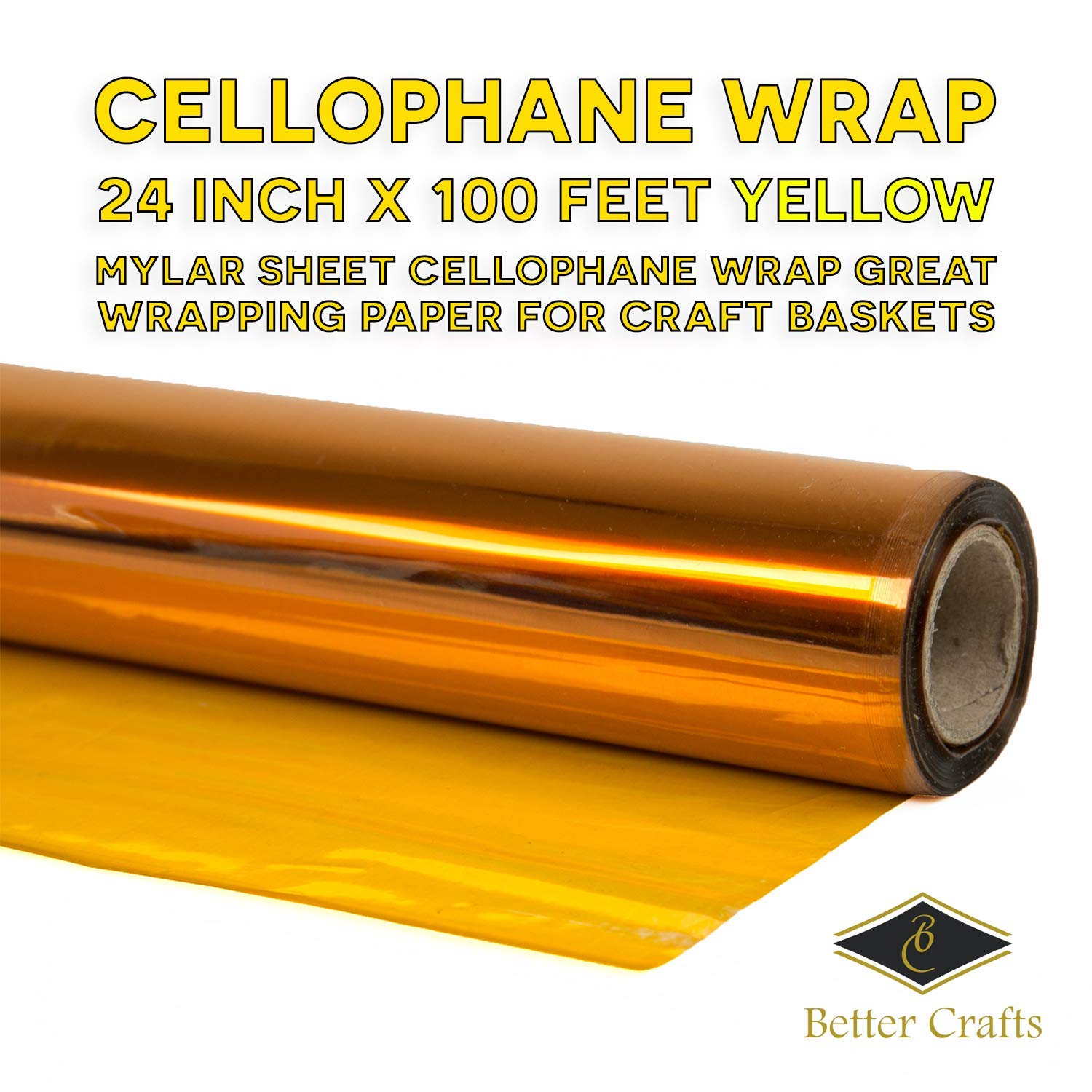 "Cellophane Wrap 24""Inch x 100'Ft Mylar Sheet Cellophane Roll Great Wrapping Paper for Craft Basket(Purple)"