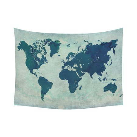 Phfzk Watercolor Wall Art Home Decor Vintage World Map Tapestry