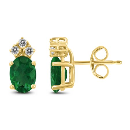 14K Yellow Gold 6x4MM Oval Emerald and Diamond Earrings