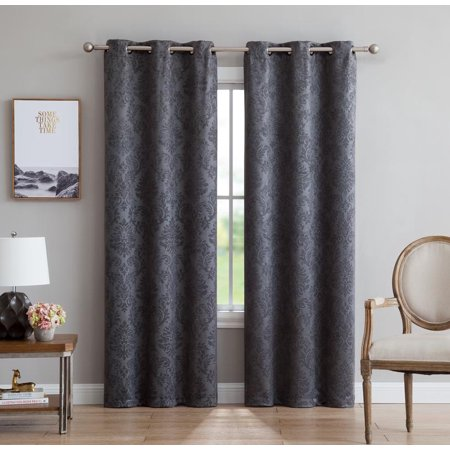 Evelyn Embossed Thermal Grommet Blackout Curtains Room Darkening, Noise Reduction Fabric Blocks 97% of Sunlight(Panel Pair 38