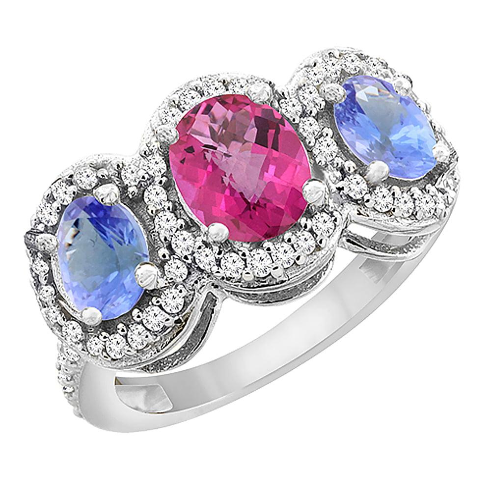 14K White Gold Natural Pink Sapphire & Tanzanite 3-Stone Ring Oval Diamond Accent, size 5 by Gabriella Gold
