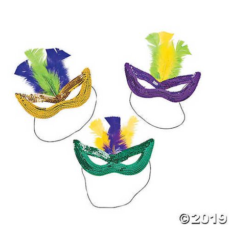 Mardi Gras Sequin Masks with Feathers - Mardi Gras Feather Masks