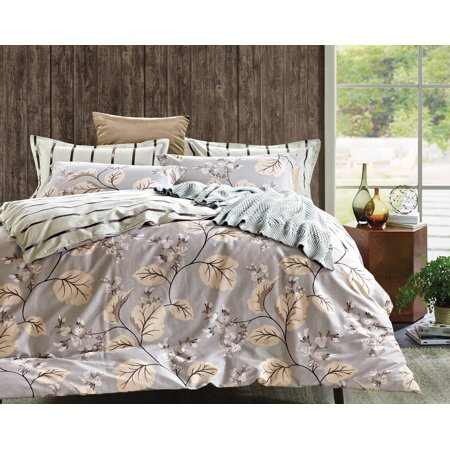 Swanson Beddings Catalpa Blossoms 3-Piece 100% Cotton Bedding Set: Duvet Cover and Two Pillow Shams (Queen)