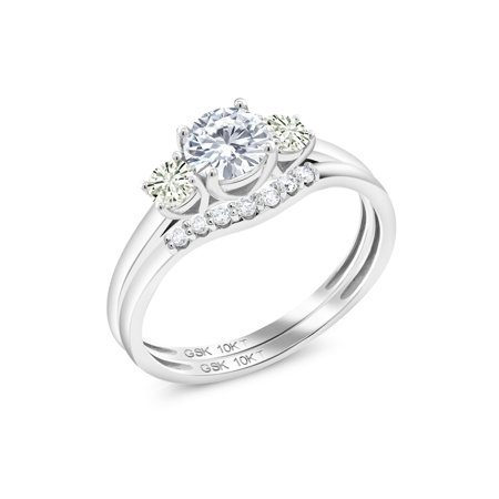 10K White Gold Lab Grown Diamond Ring Timeless Brilliant IJK Round 0.70ct DEW Created Moissanite