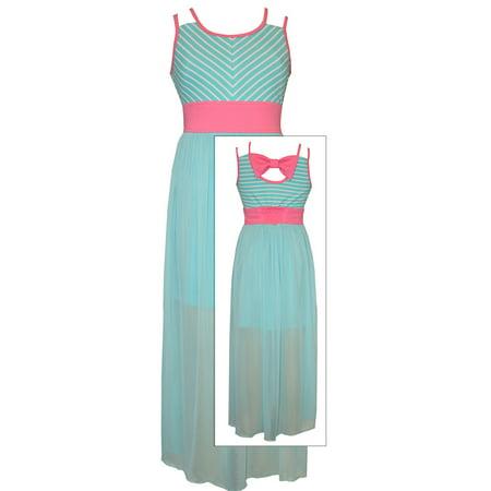 Bonnie Jean Tween Girls Mint Chevon to Sheer Maxi Dress - Tween Designer Dresses
