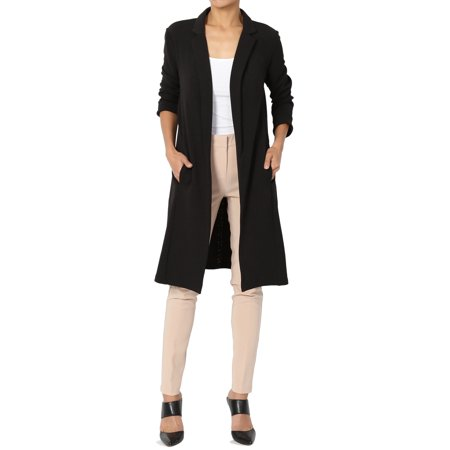 Utility Blazer - TheMogan Women's Young Contemporary Layering Stretch Long Blazer Duster Jacket