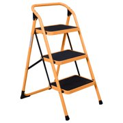 UBesGoo Portable 3 Step Ladder Humanity Slippery-Resistant Safety Short Stairs w/330lbs Capacity Platform Lightweight Short Handrail Iron Folding Stool for Home Use, Library Use Multi-Function Stool