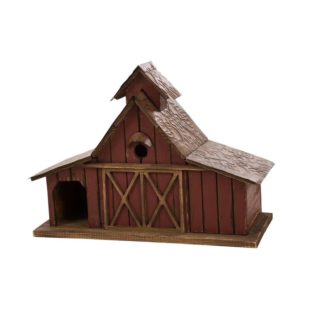 """Glitzhome Rustic Wood Barn Birdhouse Bird Friendly Home Decor, 20.67""""L"""