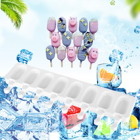 LYUMO 8 Cavity Ice Cream Makers Mold Thick Material Silicon Molds Ice Cube Tray With Popsicle Molds, Ice Cream Makers Mold,  Ice Tray Features:Easy to clean and corrosion resistant.Safe and environmentally friendly, it can be reused.The texture is soft, easy to demould and easy to operate.Can make a variety of flavors of popsicles, food supplement boxes, etc.The shape is novel and can be made into a variety of shapes of popsicles.Specifications:Condition:100% Brand NewMaterial: Silica gelColor:WhiteWeight: Approx.188g/6.6ozSize: Approx.42*12.5*2cm/16.5*4.9*0.8inPackage List:1*8 CavitySilicone Mold Note:Because there was a manual measuring ,the size may has 1-2cm/inch difference.The color may be slight different due to the condition or light or different monitor.