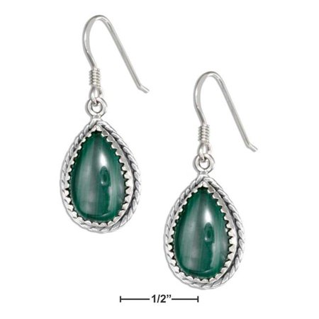 Sterling Silver Simulated Malachite Teardrop Dangle Earrings with Rope Edge