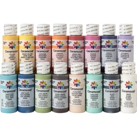 Delta Creative Ceramcoat Acrylic Paint Set in 16 Assorted Colors, 2oz
