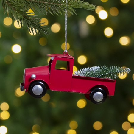 5 Red Vintage Truck With Frosted Tree Christmas Ornament Walmart Com Walmart Com