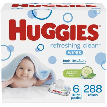 Huggies Refreshing Clean Baby Wipes, Cucumber Scent, 288 Count