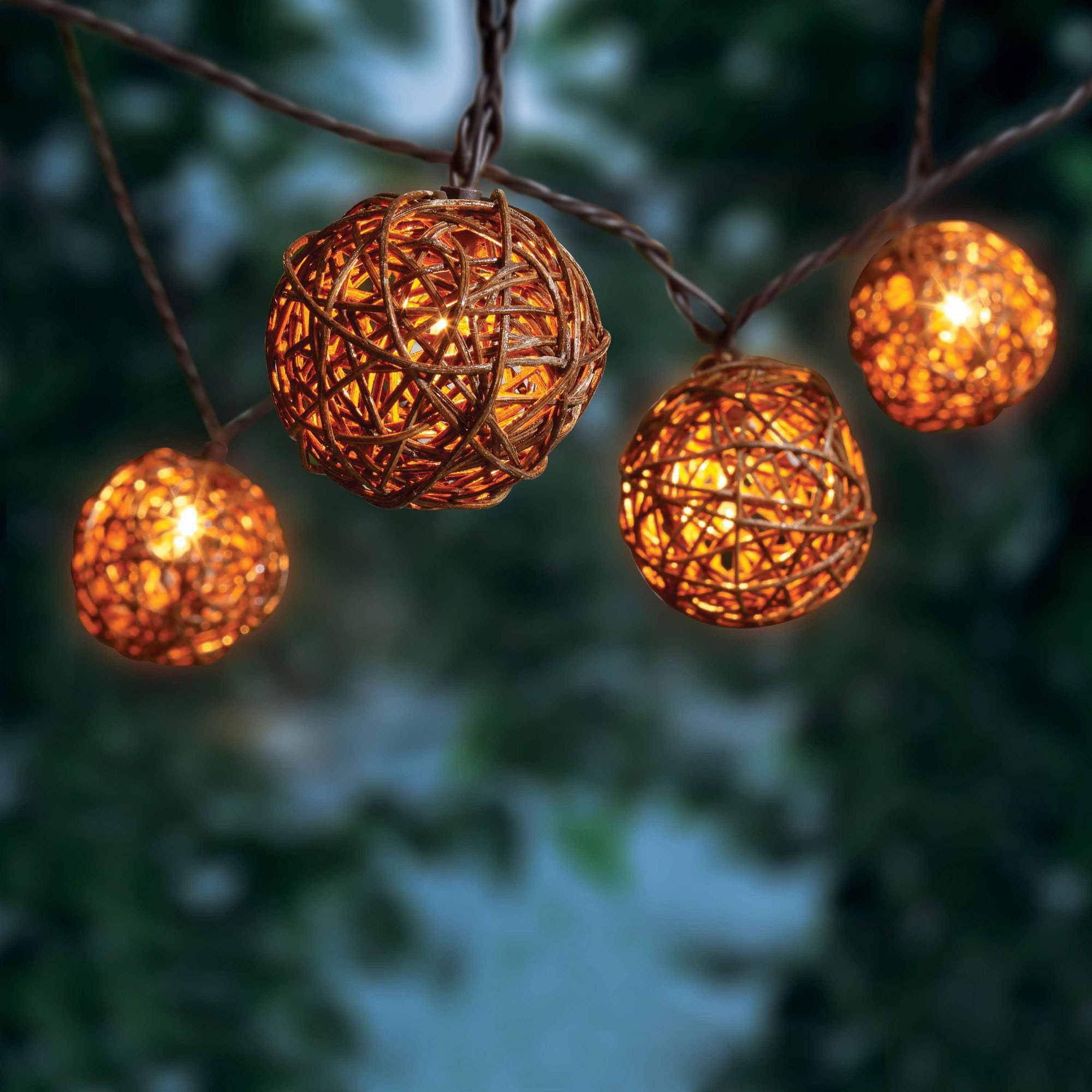 Better Homes and Gardens Wicker Ball Lights, 20 Count