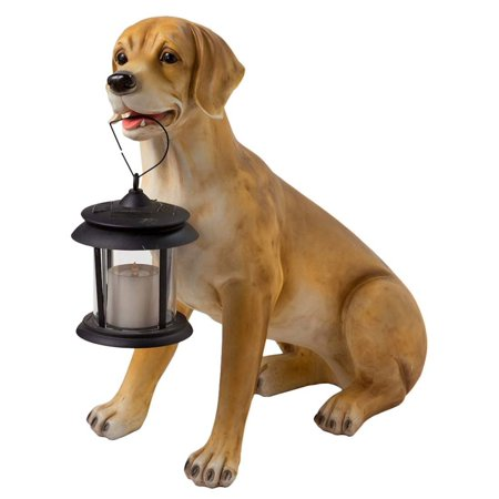Dog Statue (Yellow Labrador Dog w/ Solar Lantern Outdoor Statue, 22