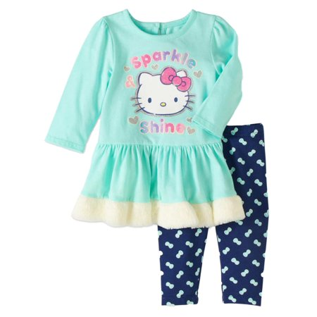 Hello Kitty Birthday Outfit (Infant Girls Blue Hello Kitty Outfit Sparkle & Shine Sweat Shirt &)