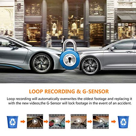 AWESAFE Mirror Dash Cam 10 Inch Touch Screen 1080P Rear View Mirror Camera Front and Rear Dual Lens Backup Camera - image 1 de 5
