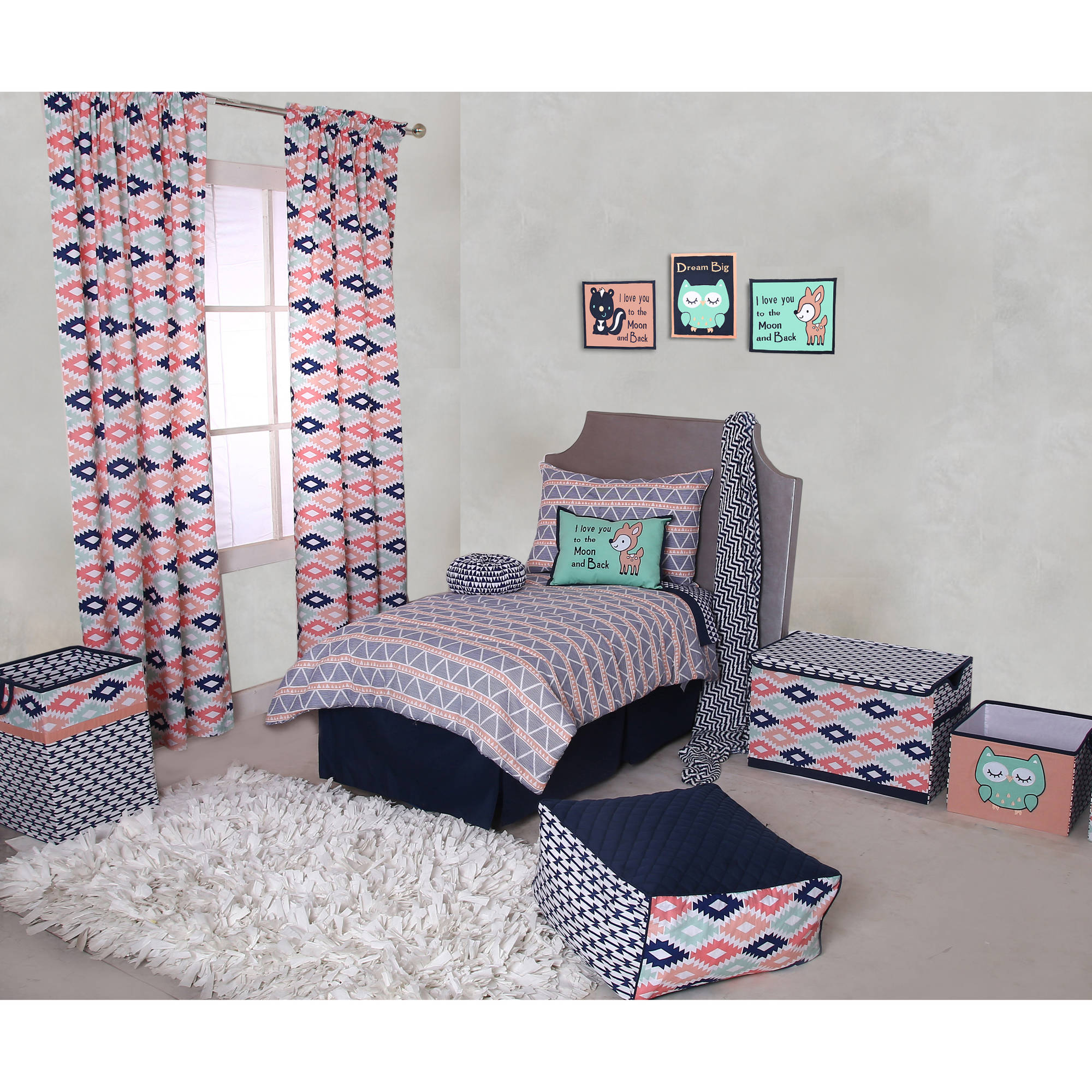Bacati - Emma Aztec Coral/Mint/Navy Triangles 100% Cotton Muslin 4-Piece Toddler Bedding Set