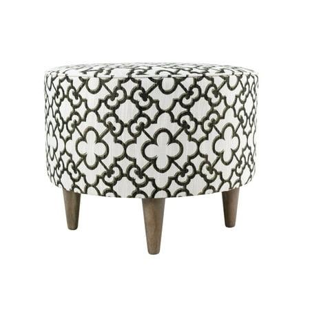 Pattern Upholstered Ottoman - Sole Designs Sophia Collection Audet Series Upholstered Ottoman with Quatrefoil Pattern