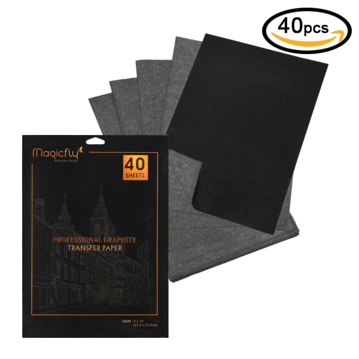 """Carbon Paper, Magicfly 40 Sheets (9"""" x 13"""") Graphite Transfer Paper Sheets for Tracking on Wood, Paper, Canvas Black"""