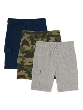 Garanimals Baby and Toddler Boys French Terry Cargo Shorts, 3-Pack
