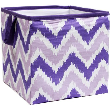 Bacati - MixNMatch Purple Zigzag Cotton Percale Fabric covered Storage, Small Box, 10 L  x 10 W x 10 H inches (Purple Storage Bins)