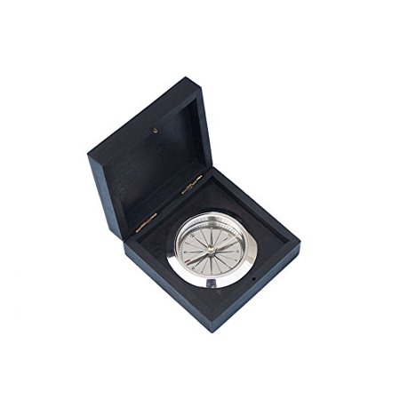 Handcrafted Model Ships CO-0609A-CH Chrome Captain'S Desk Compass W/ Black Rosewood Box 4 Rosewood Mini Box