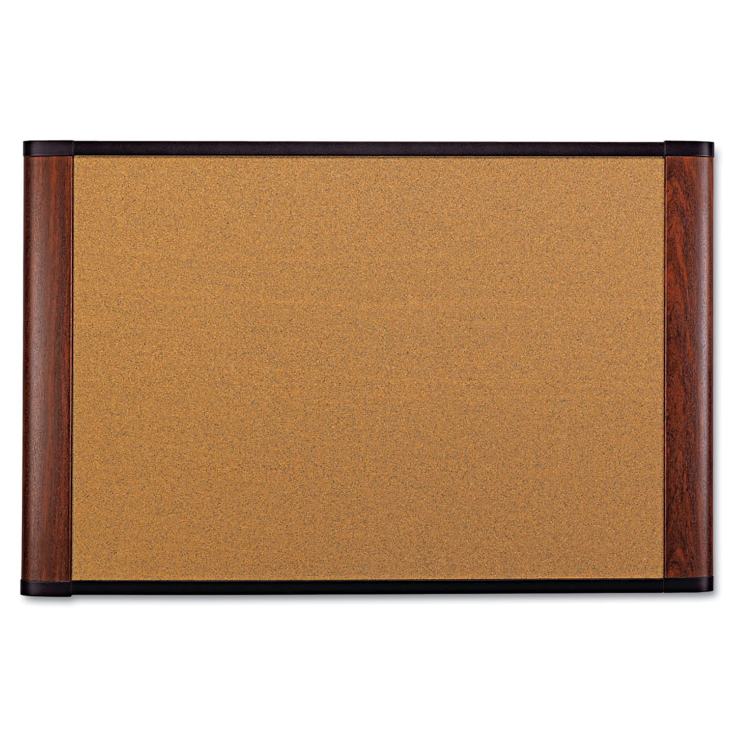 "3M Cork Bulletin Board, 72"" x 48"", Aluminum Frame w/Mahogany Wood-Grained Finish"