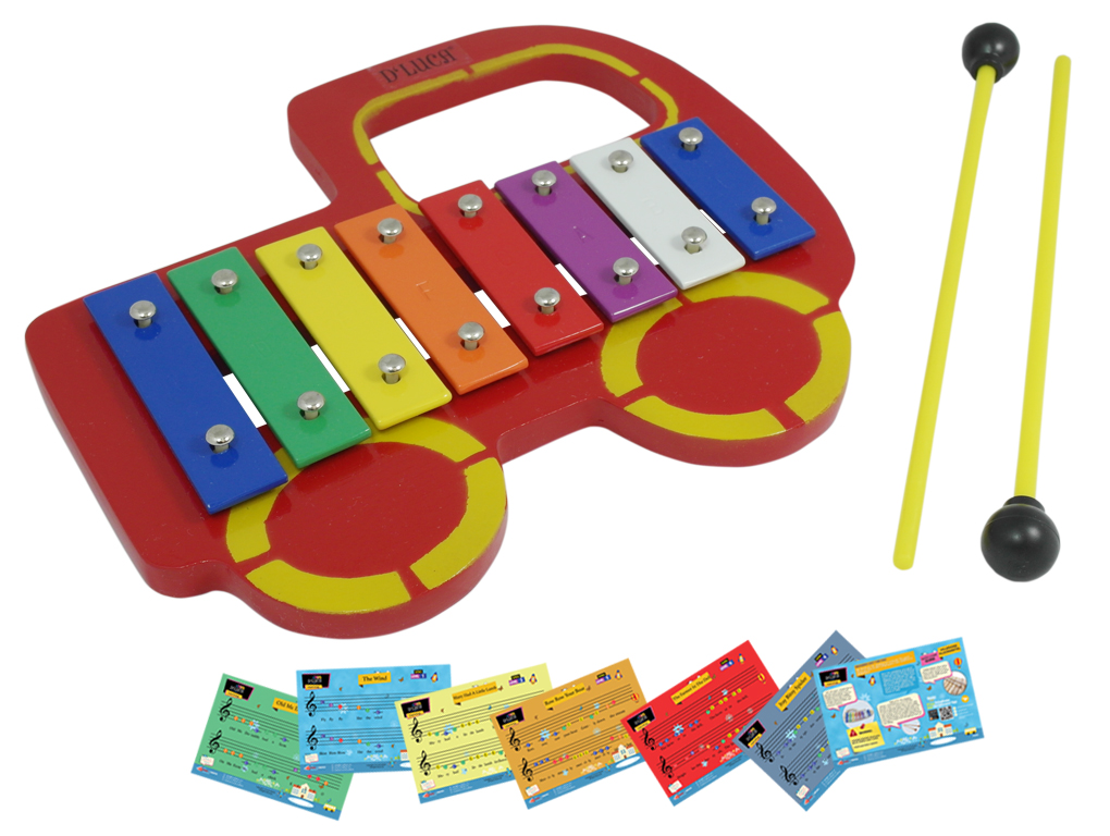 D/'Luca Kids Red Truck Baby 8 Note Xylophone Glockenspiel with Music Cards