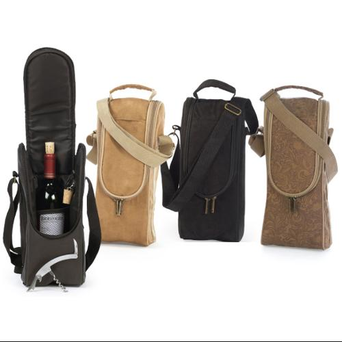 Insulated Wine Bottle Carrier Tote with Opener & Stopper - Camel Micro Suede