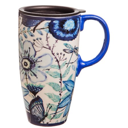 Shades of Indigo Flowers and Butterflies Ceramic Travel Coffee Mug
