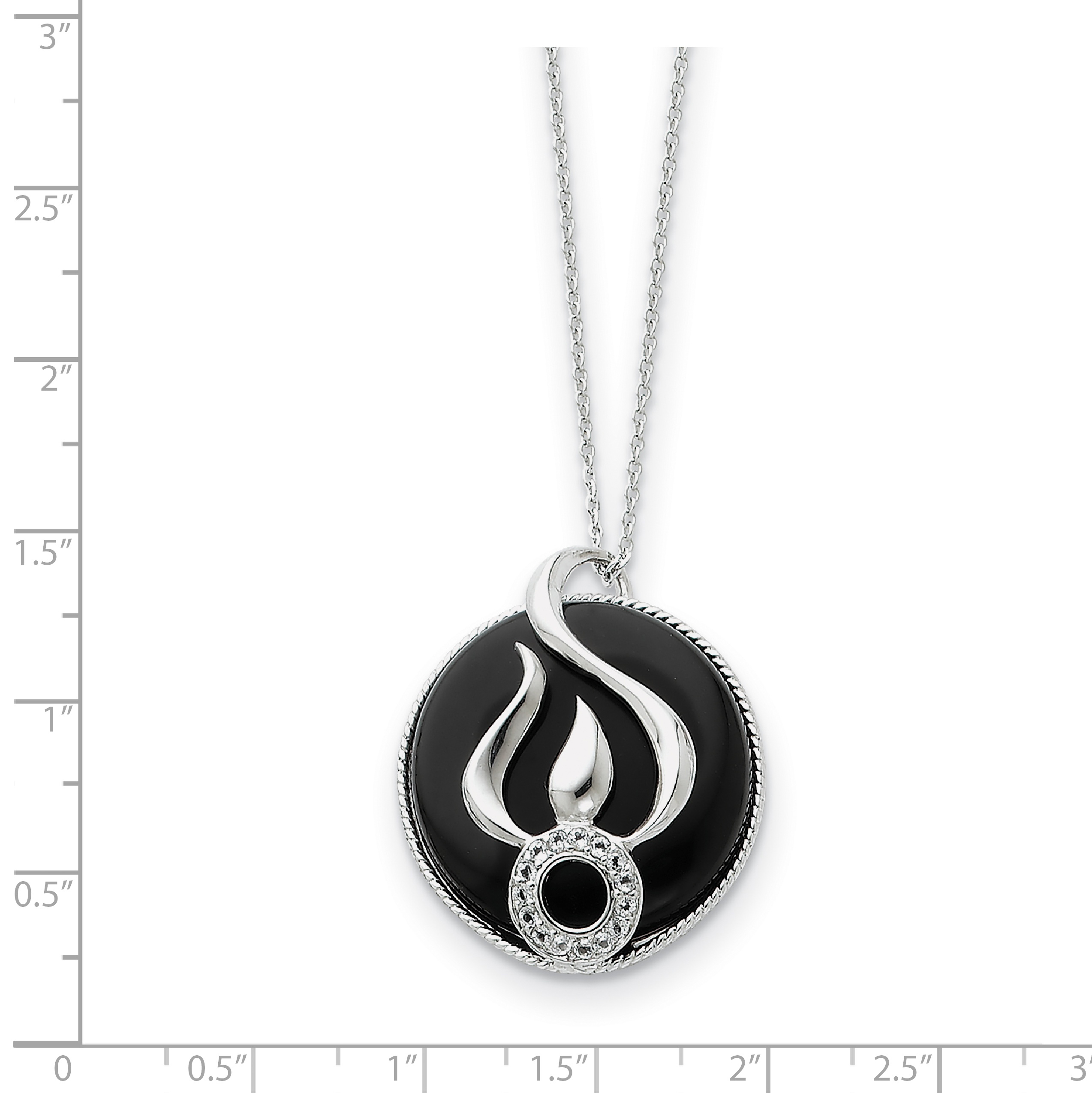 Sterling Silver Onyx and CZ Fear Less 18in Necklace 18 Inch - image 2 de 3