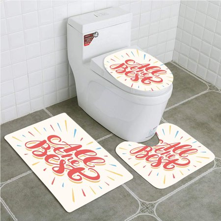 PUDMAD Going Away Party All Best Greeting Card Inspired Wish Cute Colorful 3 Piece Bathroom Rugs Set Bath Rug Contour Mat and Toilet Lid (All D Best Wishes For Exam)