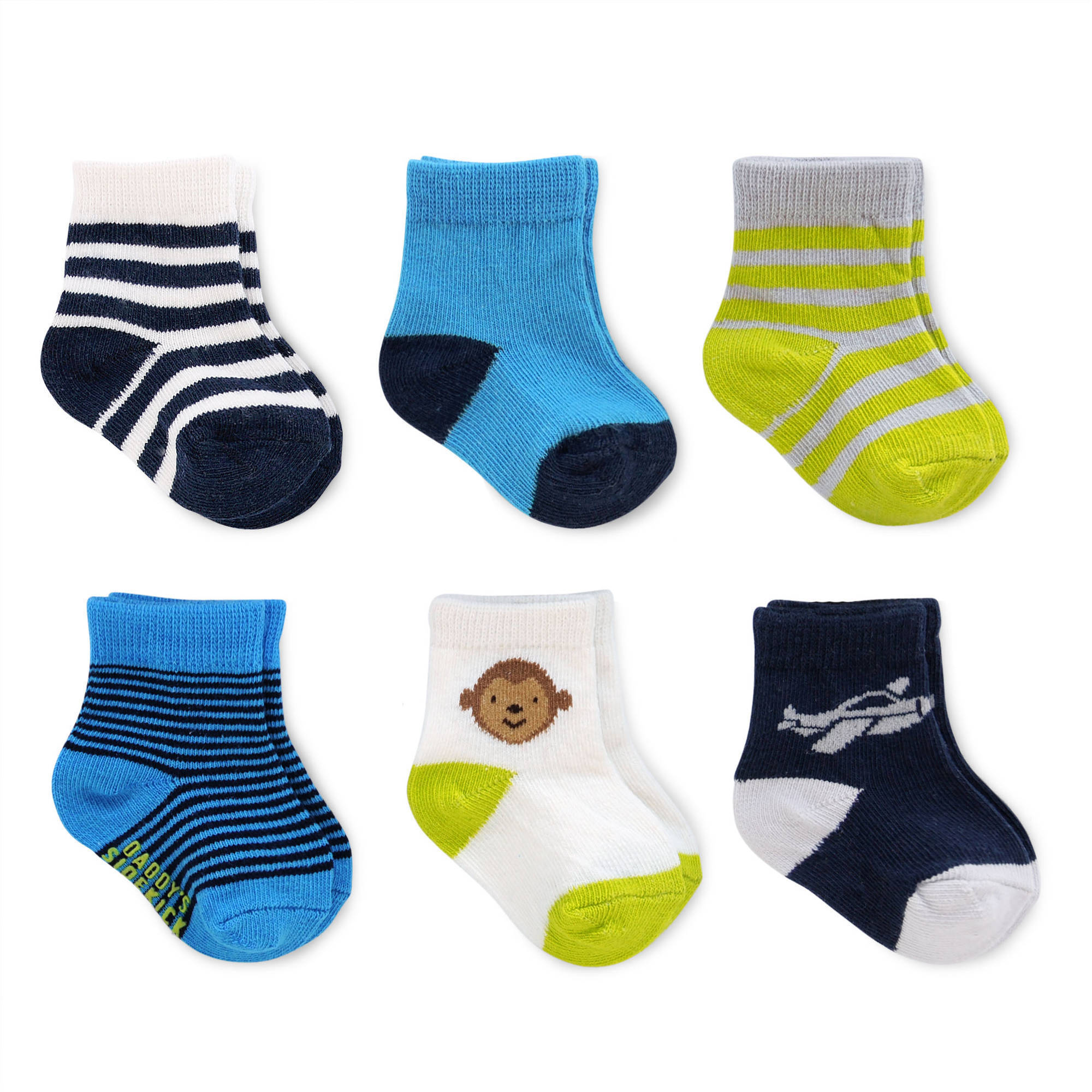 Child of Mine by Carter's Newborn Baby Boy Monkey Computer Socks, 6 Pack