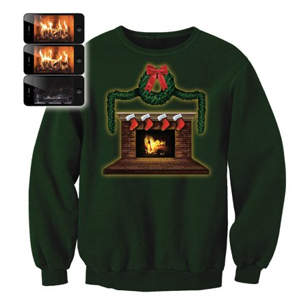 Digital Dudz Adult Fireplace Sweatshirt Ugly Christmas Sweater, Green Red (Digital Dudz Christmas)
