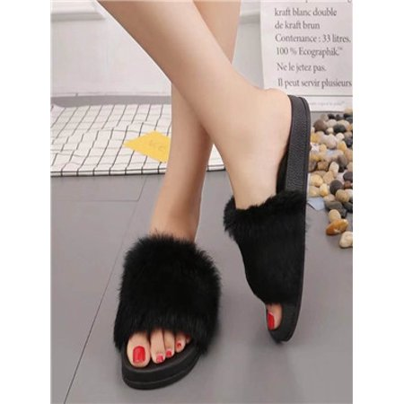 b5c6e03c969 Womens Flat Non-slip Soft Fluffy Faux Fur Flat Slipper Flip Flop Sandal  BK 38 - Walmart.com