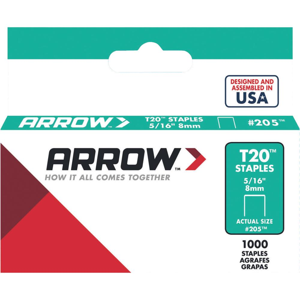 "Arrow Fastener 205 5/16"" T20 Staples"