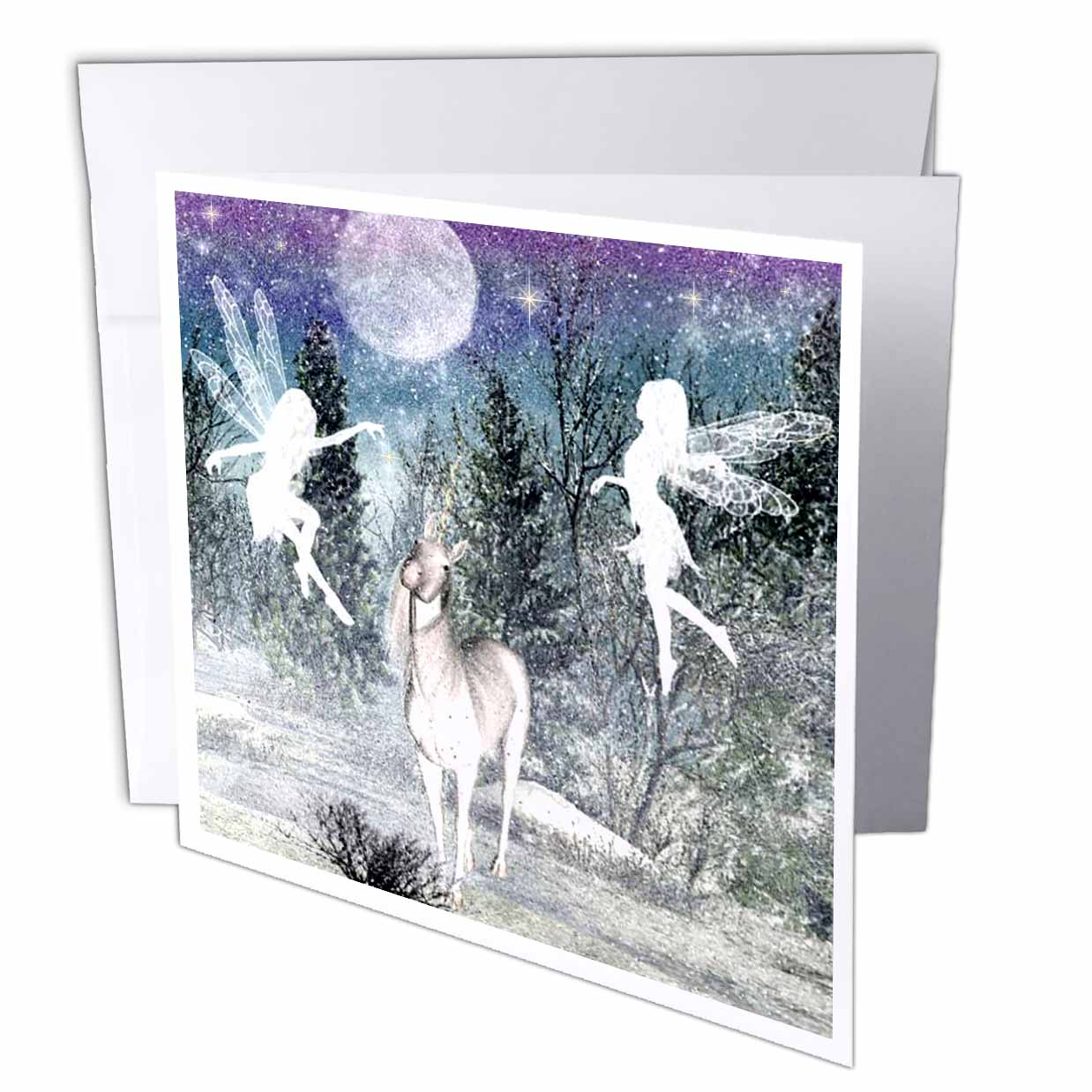 3dRose Fairies And Unicorn In The Snow, Greeting Card, 6 x 6 inches, single