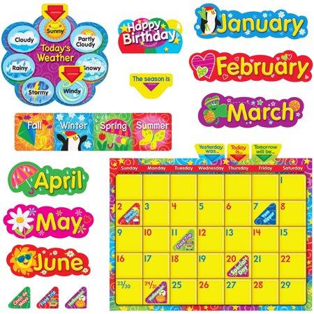 Trend, TEP8320, WipeOff Stars/Swirls Calendar Bulletin Board Set, 1 Set ()