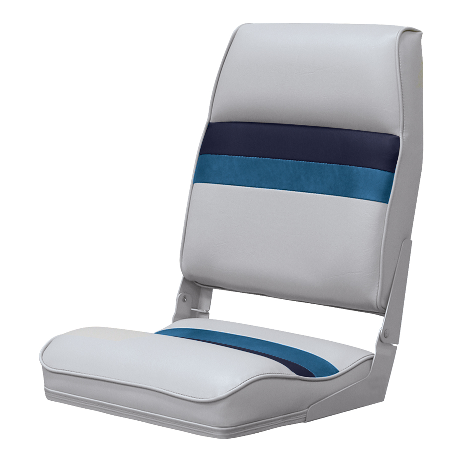 Wise 8WD434LS-1010 Deluxe Pontoon Series High Back Seat, Grey/Navy/Blue